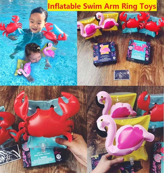Kids Inflatable Arm Band Cartoon Swimming Armlet Flamingo Crab Baby Swim Rings Safty Assistive Tools Inflatable Float Swim Arm Ring Z024