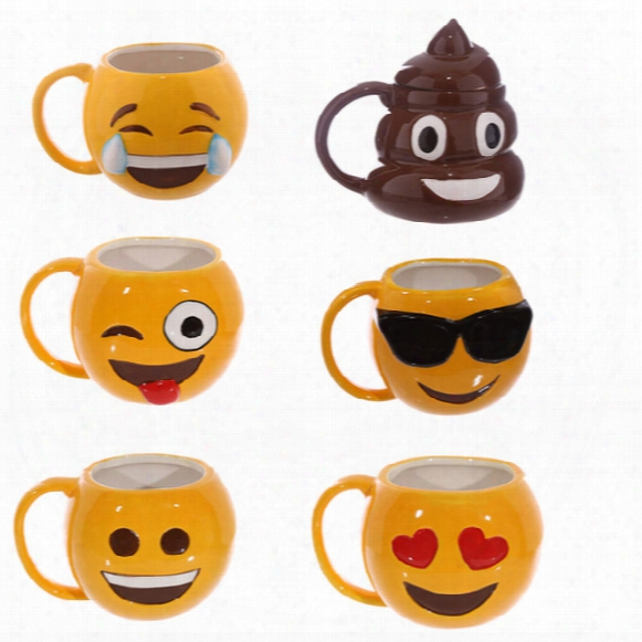 Lovely Smiling Face Emoji Mug Porcelain Poop Shit Cup Cartoon Amused And Sad Cool Couple Mugs Coffee Cups Ic520