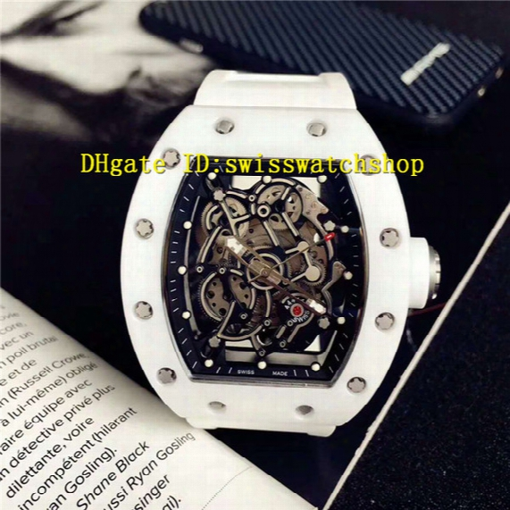 Luxury Brand 055 White Ceramic Case Spline Screws Seleton Automatic Sports Mens Watch Sapphire Crystal Transparent Back Rubber Strap