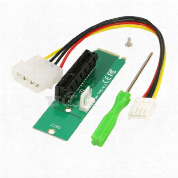 M2 To Pci-e 4x Slot Card Adapter Ngff (m.2) M Key Male To Pci Express X4 Slot Converter With Power Cable