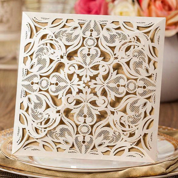New Arrival Laser Cut Wedding Invitation Cards Hollow Lace Flora Flower Party Invite Friend Cards With Envelopes And Seals