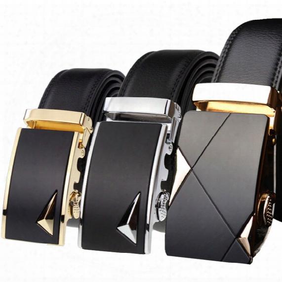 New Arrivals 2017 Brand Designer Belts Business Men's Belt Genuine Leather Luxury Belts Fashion Business Belt Automatic Buckle 30colors