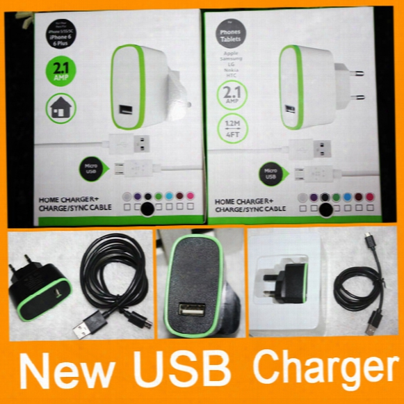 New Home Wall Charger + Cable V8 Micro For Htc Samsung S6 Edge S7 S7 Edge Dhl Free Shipping
