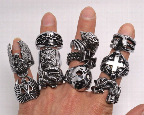 Oversize Gothic Skull Carved Biker Mixed Styles Lots Men's Anti-silver Rings Retro New Jewelry R0079