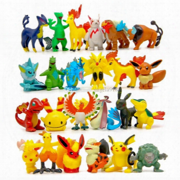 Poke Action Figures Multicolor About 6cm/2inch Mini Cartoon Children Diy Toys Pikachu Model Decoration Dhl Shipping C1120