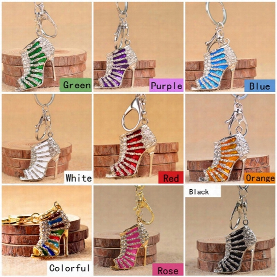 Shoe Keychain Cute Crystal High Heeled Rhinestone Key Chains Purse Pendant Bags Cars Shoe Ring Holder Chains Key Rings For Gifts C1l
