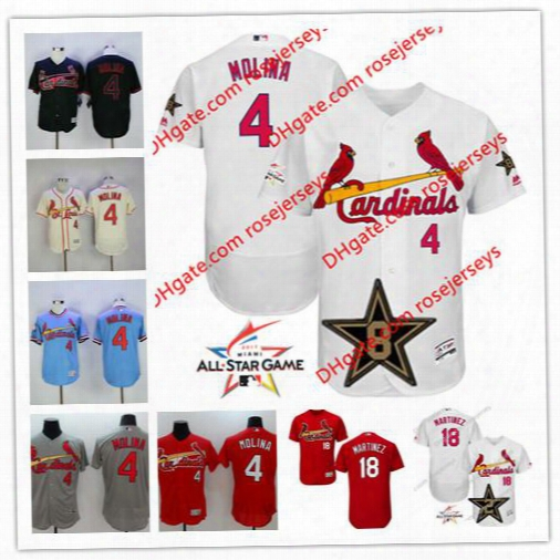 St. Louis Cardinals 2017 All-star Game Worn Jersey #4 Yadier Molina 18 Carlos Martinez White Gray Blue Cream Red Stitched Baseball Jerseys