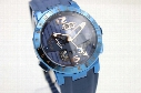 Rarely Fine Quality Automatic Chronograph Mechanical Wristwatch Transparent Glass Back Full Phantom Blue Belt &Skeleton ,Dial Male Watch