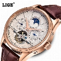 Wholesale- LIGE Brand Men's Watches Six-pin Moon phases Automatic Watch Men Dive 50M Fashion Casual Leather Wristwatches relogio masculino