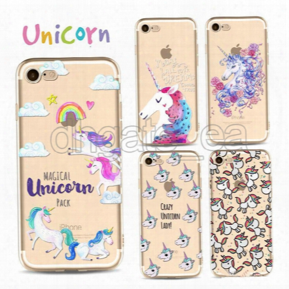 Tpu Case For Iphone 5s Clear Soft Tpu Cartoon Unicorn Dye Sublimation Waterproof Cell Phone Case Cover For Iphone 7 5s 6s Plus Free Dhl