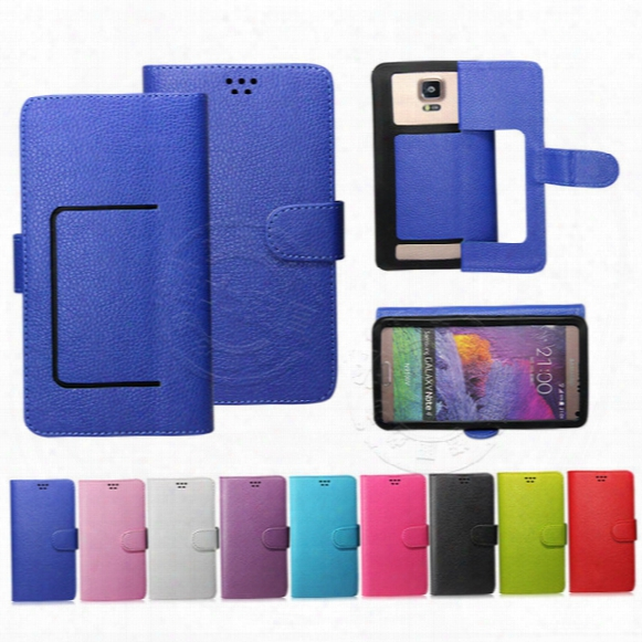 Universal Pu Leather Stand Case For Cell Phone Case With Card Holder For 3.5 4.0 4.3 4.7 4.8 5.0 5.3 5.5 6.0 Inch Mobile Universal Multicolo