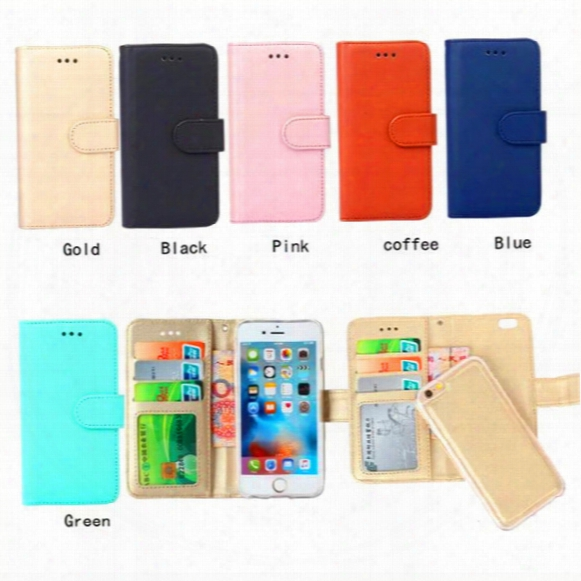 Wallet Case For Iphone 7 6s Plus Se Samsung S7 S6 Edge Note5 With Stand/card Holder/magnetic Closing/detachable Removable/flip Cover