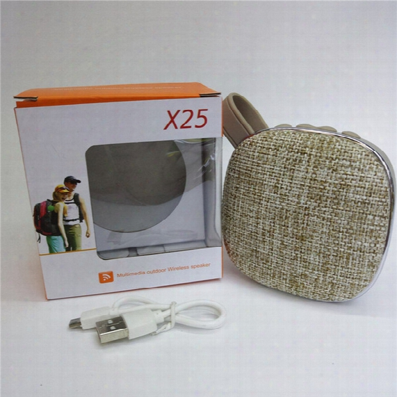 Wireless Bluetooth Speaker X25 Fabric Bluetooth Speaker Portable Support Fm Tf Card Bluetooth Calling With Retail Box