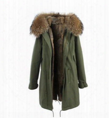 Women's Long Rabbit Furs Parkas Hooded With Raccoon Fur Collar Multicolour Rabbit Fur Lining Couples Winter Green Jacket