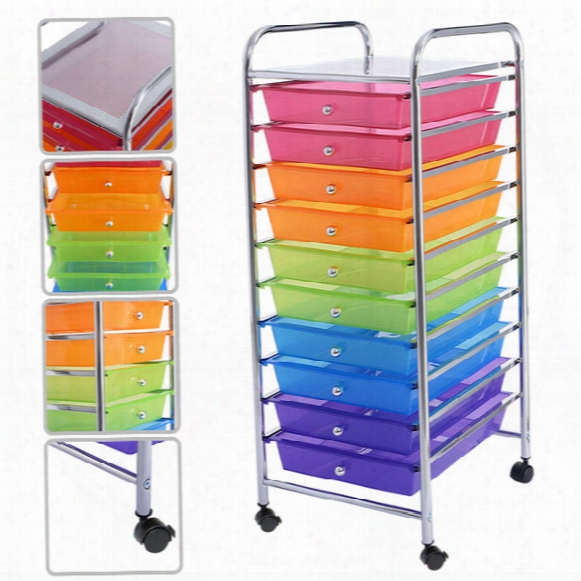 10 Drawer Rolling Storage Cart For Scrapbook Paper In Office School Organizer 3 Color