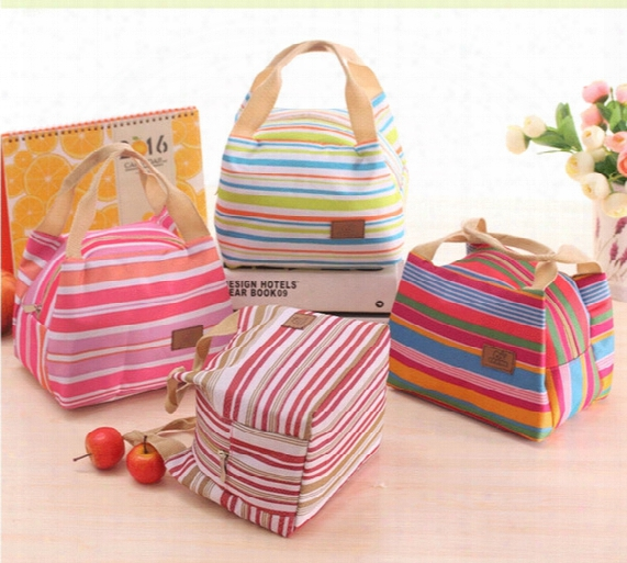 100pcs Thermal Insulated Portable Cool Canvas Stripe Lunch Totes Bag Carry Case Picnic Lunch Bag Zipper Bag Lunch Box