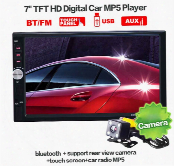 2 Din Car Video Player 7 Inch Touch Screen Car Radio Audio Stereo Mp5 Player Car Dvd Function Usb Fm Bluetooth + Rear View Camera