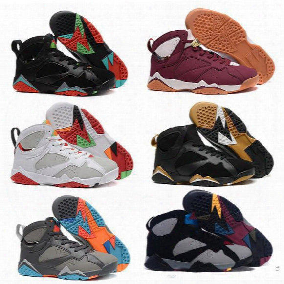 2016 Air Retro 7 Vii Men Basketball Shoes Raptor Guyz Hares Olympic Bordeaux Gg Cardinal Raptor French Blue White Bred Gold Sports Sneakers