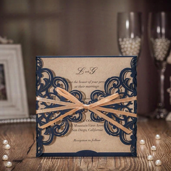 2017 Luxury Laser Cut Wedding Invitations Customized Printing Navy Hollow Flower Party Invitation Cards With Envelopes