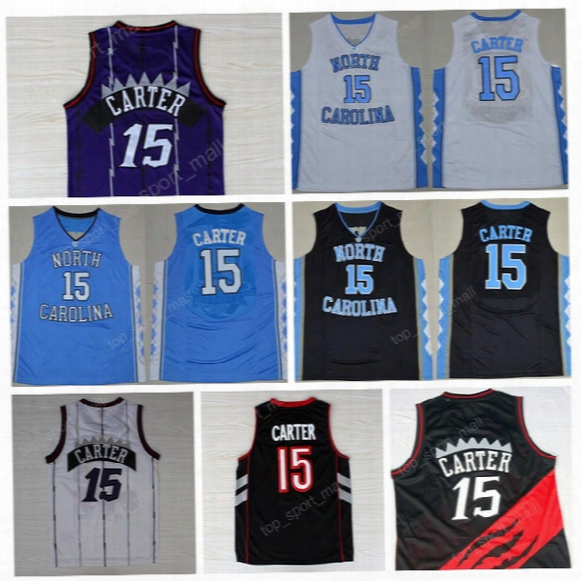 2017 Throwback 15 Vince Carter Basketball Jerseys North Carolina Tar Heels College Vince Carter Jersey Blue Black White Purple Hot Sale