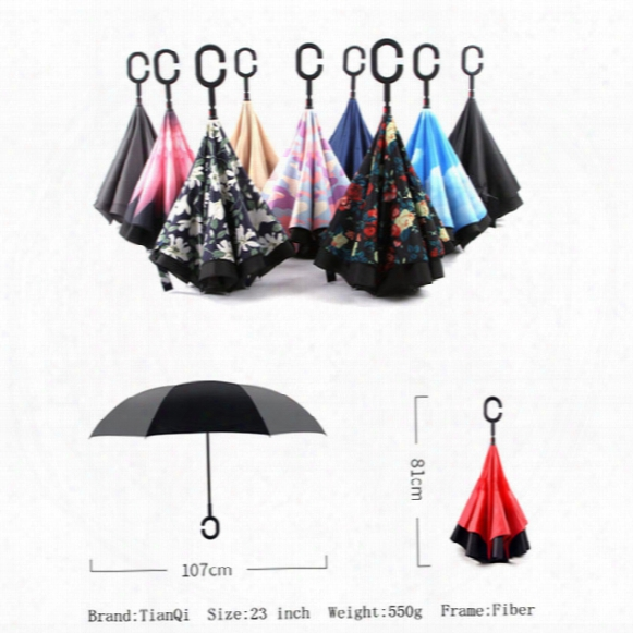 30 Colors New Creative Inverted Umbrellas Double Layer With C Handle J Handle Inside Out Reverse Windproof Umbrella Rain Protection For Car