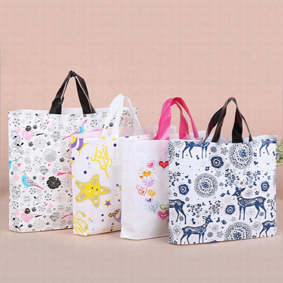 30*38*8 Colorful Cartoon Plastic Shopping Bags With Handle Pink Boutique Clothes Gift Packaging Bag Customizable
