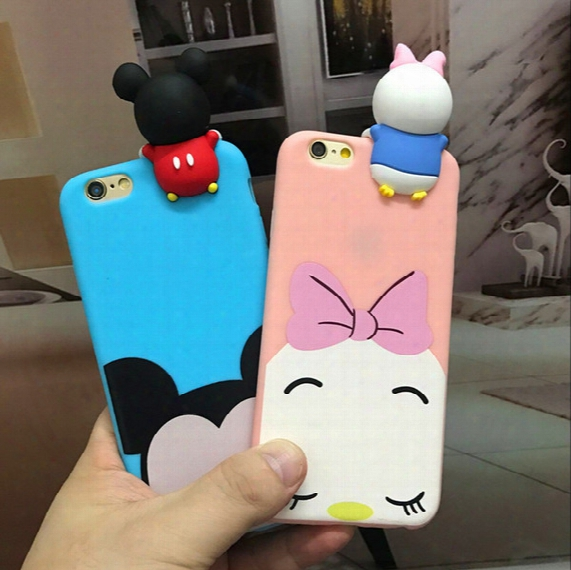 3d Cute Cartoon Mickey Minnie Mouse Winnie Daisy Lying Case Soft Silicone Anti Knock Cover For Iphone 7 6 6s Plus 5s Se Oppo R9s Plus