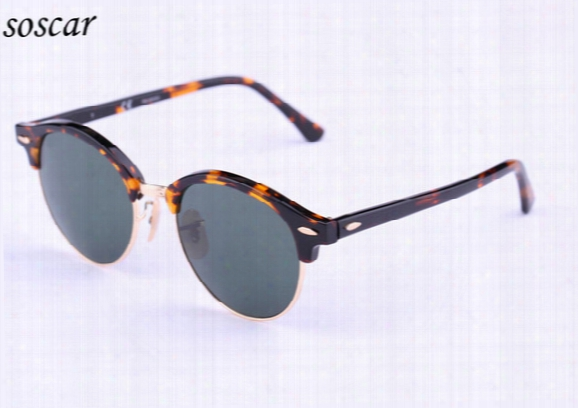 4246 Brand Designer Sunglasses Soscar Authentic Round Sunglasses 2017 New Arrival Men Women Sunglasses Plank Frame Flash Mirror Lenses 51mm