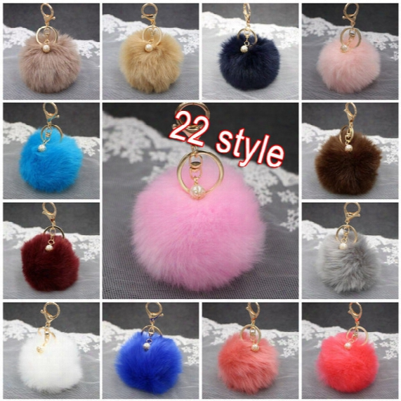 8cm Artificial Rabbit Fur Keychain Pearl Ball Pom Pom Key Chain For Womens Bag Or Cellphone Or Car Pendant 22 Color Gift C132l