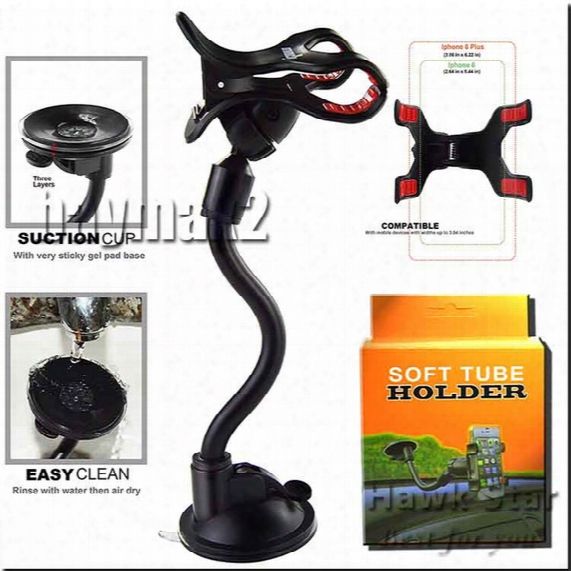 A+ Quality Car Mount Long Arm Universal Windshield Dashboard Phone Holder With Strong Suction Cup And Clamp 360 Degree Stands Best Seller