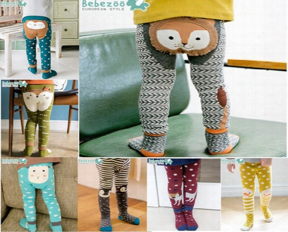 Brand Clothes Cartoon Stripe Baby Leggings Elastic Cotton Soft Girls Pp Pants Fox Penguin Lion Kids Tights 6931