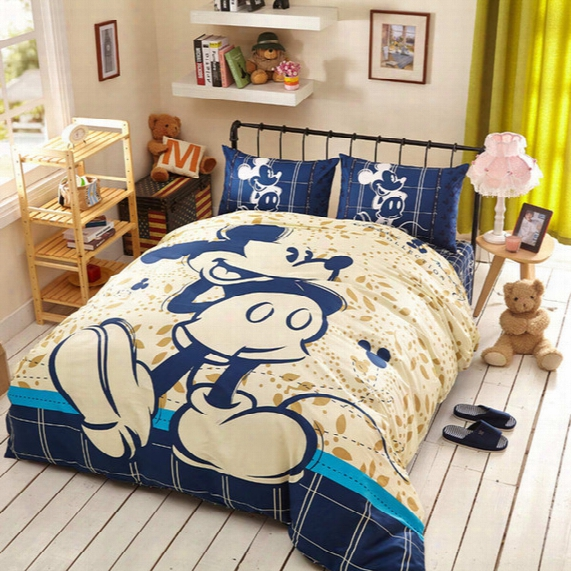 Cotton Mickey Minnie Mouse Bed Bedding Set Cartoon Comforter Duvet Cover Sets 3/4/5pcs Twin Queen King Kids Bed Sheet Linen