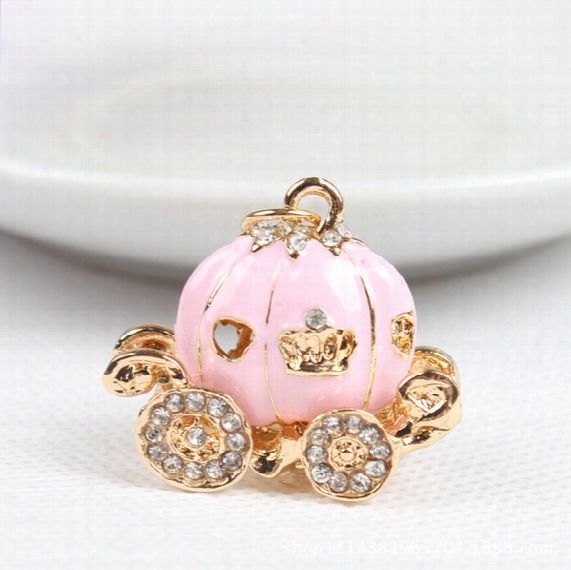 Cute Big White Princess Pumpkin Carriage Crystal Charm Keychain Key Ring Alloy Key Chains Accessories Free Shipping