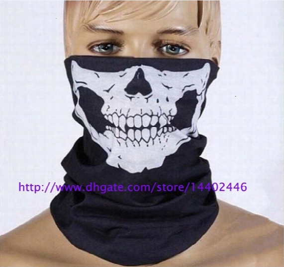 Dhl Free Shipping 500pcs Skull Design Multi Function Bandana Ski Sport Motorcycle Biker Scarf Face Masks Outdoor Facial Mask Black Color