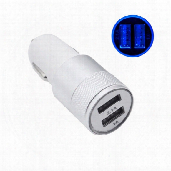 For Iphone 7 Travel Adapter Metal Car Charger 2 Ports Colorful Micro Usb Car Plug Usb Adapter For Iphone 6 Iphone 6 Plus Opp Package