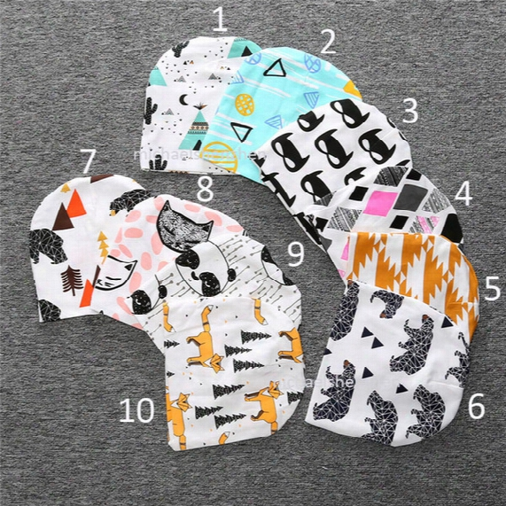 Free Dhl 18 Style Kids Christmas Ins Purified Cotton Hats Baby Boys Girls Fashion Cartoon Ins Fox Panda Tiger Stripe Caps B001