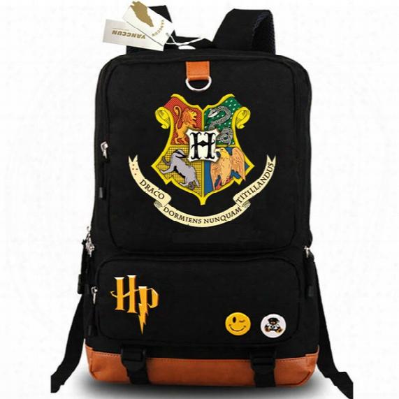 Harry Potter Backpack Badge Daypack Draco Dormiens Nunquam Titillandus Schoolbag Cartoon Rucksack Sport School Bag Outdoor Day Pack