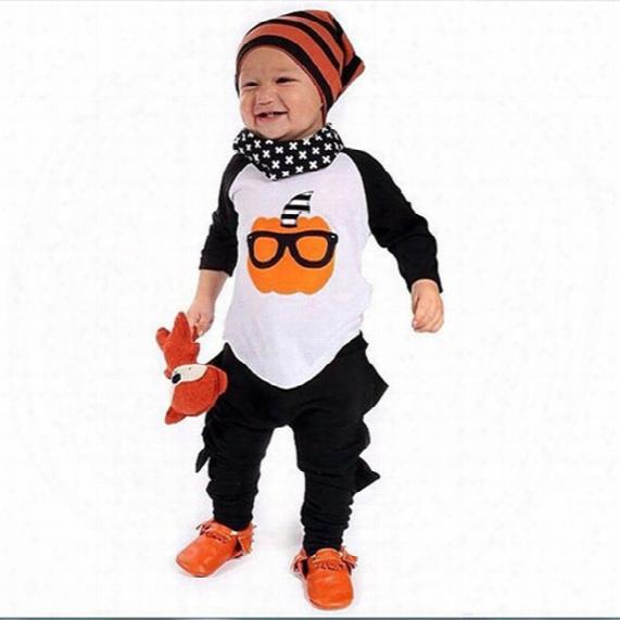 Ins Toddler Boys Halloween Outfits Cartoon Pumpkin Printing T-shirt+dinosaur Pants 2pcs/set Cotton Baby Outfits Kids Clothes C1193