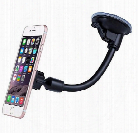 Long Arm Car Suction Cup Magnetic Windshield Dash Mount Holder For Iphone 7 Plus 6s Plus 5s 360 Degree Rotatable With Retail Box
