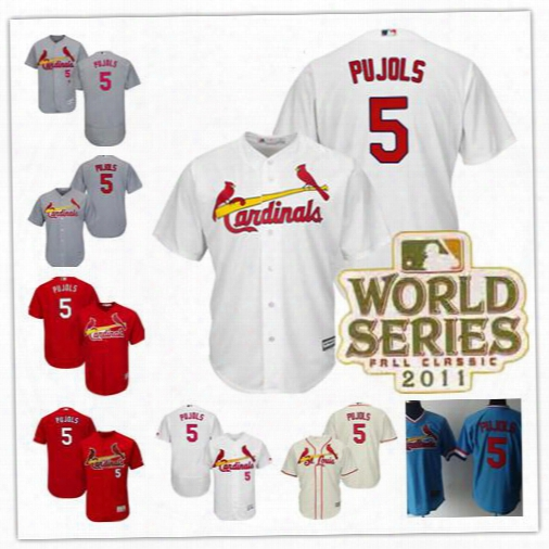 Mens St. Louis Cardinals #5 Albert Pujols Gray White Red Cream Stitched 2011 World Series Patch Game Worn Baseball Flex Cool Base Jerseys