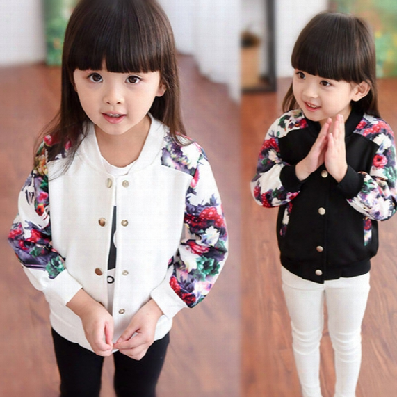 New Autumn Girls Baseball Uniform Coat Kids Floral Print Long Sleeve Cardigan Outerwear Kids Jacket Coat Children Casual Jackets White 12122