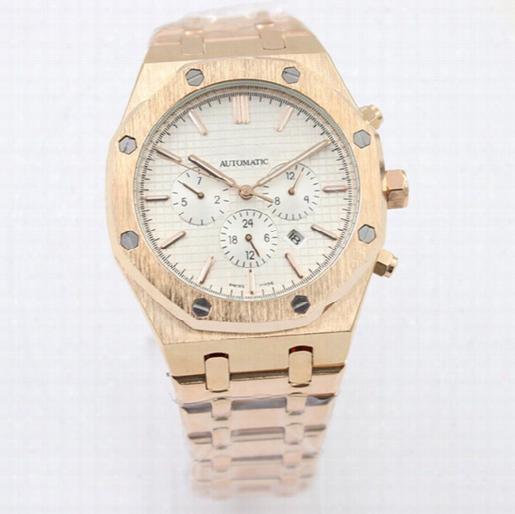 New Royal Oak Offshore Rose Gold Automatic Mechanical Mens Watch Glass Back Stainless Steel Men Watches