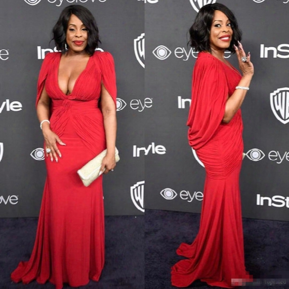 Niecy Nash Plus Size Red Golden Globe Red Carpet Evening Gowns With Cape Mermaid Chiffon Deep V-neck 2017 Women Formal Celebrity Dress Cheap