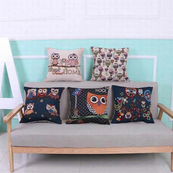 Pillowcase Fashion Owl Pillow Dyed Jacquard Noodle Pillowcase Cute Animal Car Lumbar Pillow Cushion Cover Office Decorative Pillowcase