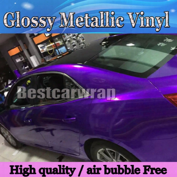 Premium Candy Gloss Midnight Purple Vinyl Wrap Car Wrap With Air Bubble Free Glossy Metallic Purple Candy Wrap Film Size:1.52*20m/roll