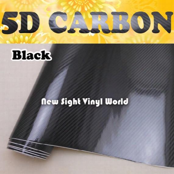 Premium High Glossy Black 5d Carbon Fber Car Vinyl Wrap Film Foil Sticker Air Free Car Wrapping