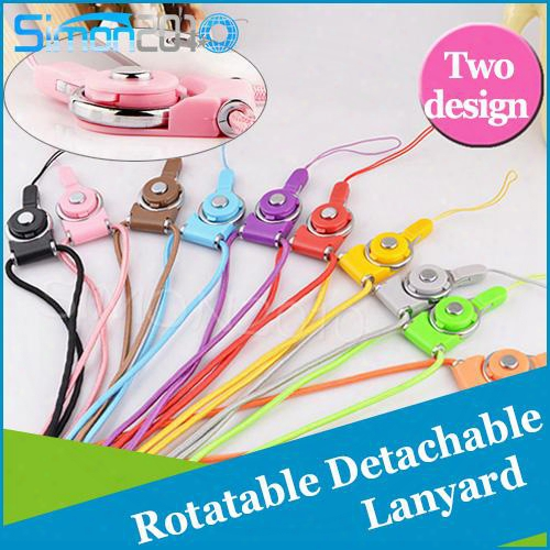 Rotatable Neck Strap Detachable Ring Lanyard Hanging Charming Charms For Cell Phone Mp3 Mp4 Flash Drives Id Cards Cellphone
