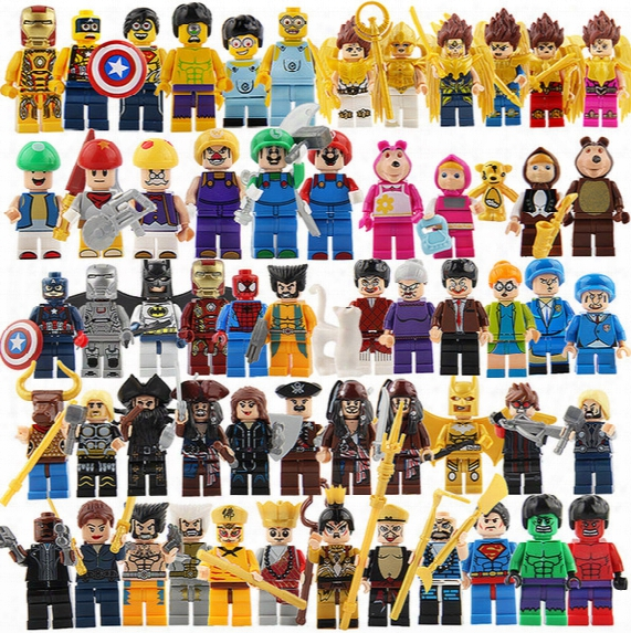 Spiderman Ironman Superman Building Blocks Altman Super Heroes Minifig Batman Rainbow Mini Figure Toys Smurfs Witch Caribbean Pirates Jack