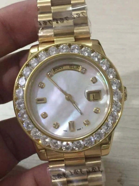 Store361 Wholesale -luxury Watches High Quality Mens 36mm Day Date President 18k Gold White Mop Diamond Dial Bezel Quickset 2y Automatic Me