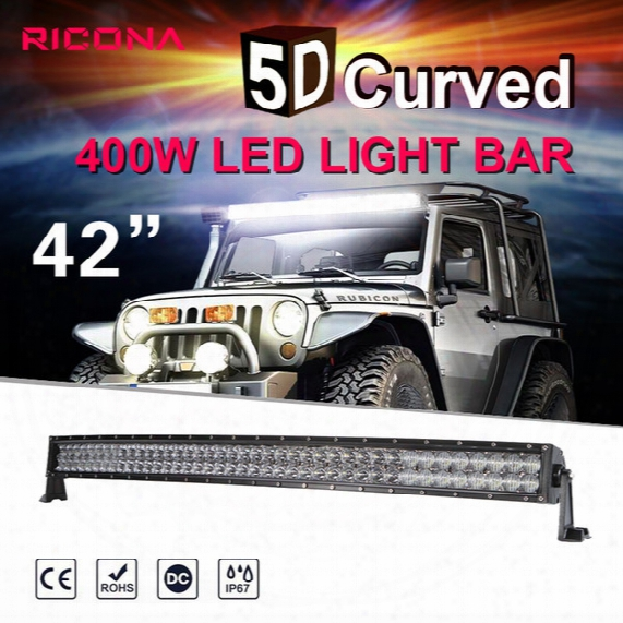 Sufe 5d 42 Inch 400w Curved Led Light Bar 12v 24v Combo Beam For Offroad Boat Car